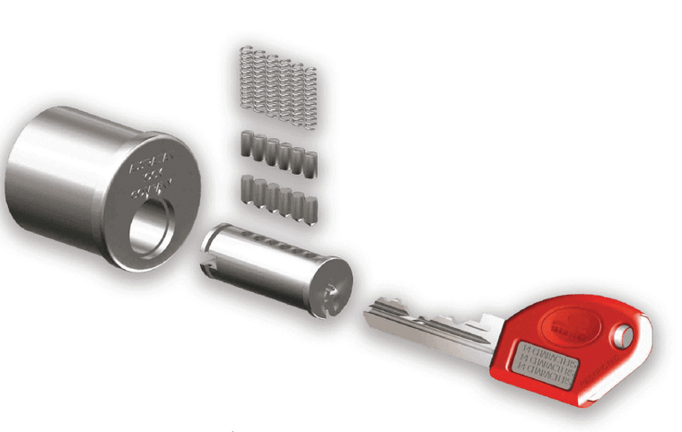 Image displays a Restricted Master Key System; a cost effective, high security, planned hierarchy key system.